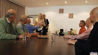 Beautiful youngster waitress is team-fucked by a group of grandpas animalistic pleasure the office hd xxx